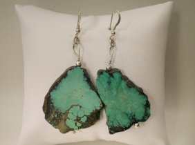 Gorgeous Sterling Silver Polished Turquoise Earrings