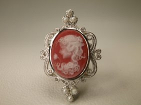 Gorgeous Sterling Silver Cameo Brooch Pendant
