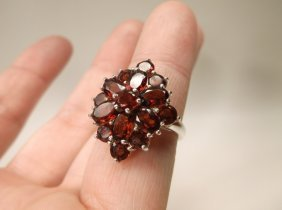 Gorgeous Sterling Silver Garnet Cocktail Ring 6