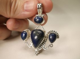 Beautiful Large Sterling Silver Lapis Pendant
