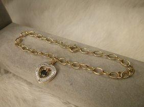 Gorg Gold Over Sterling Gen Diamond Sapphire Bracelet
