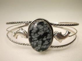 Large Dalmatian Dacite Dolphin Cuff Bracelet