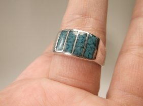 Old Pawn Sterling Silver Turquoise Mens Ring 11