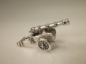 Gorgeous Sterling Silver Miniature War Cannon
