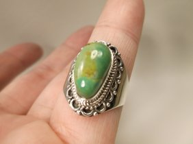 Gorgeous Sterling Silver Green Turquoise Ring 8