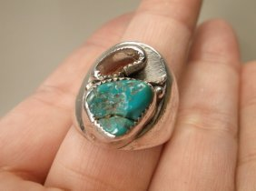 Huge Old Pawn Sterling Turquoise Coral Ring 11