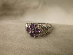 Beaut Sterling Silver Gen Amethyst Diamond Ring 7