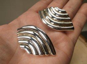 Gorgeous Heavy Sterling Silver Israel Earrings
