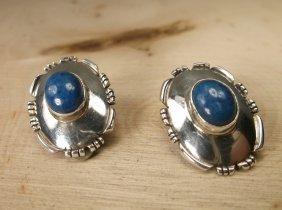 Gorgeous Navajo Sterling Silver Lapis Earrings