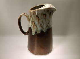 Gorgeous Antique Salt Glazed Pottery Pitcher 10""