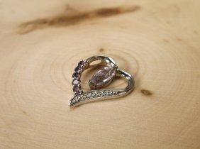 Gorgeous Sterling Genuine Diamond Amethyst Pendant