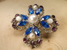 Stunning Antique Rhinestone Brooch