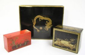 Chinese Gilt, Black/Red Lacquer Boxes