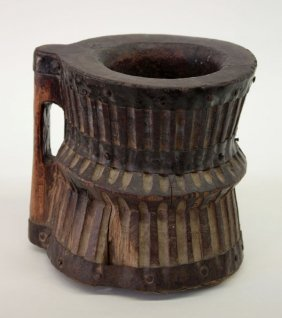African Carved Mortar