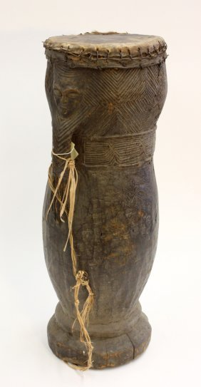 Wood Carved Drum, West Africa