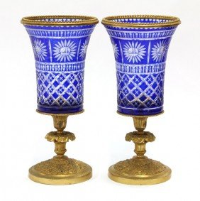 Cobalt Glass Urns