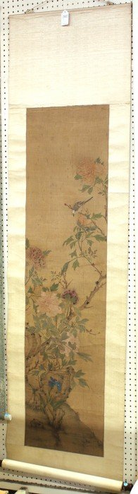 Chinese Scroll, Bird And Peonies