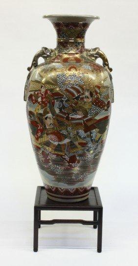 Large Satsuma-style Baluster Vase, Taisho/Showa