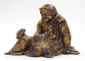 Chinese Gilt Metal Figure Of Liuhai And Toad