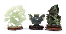 Three Chinese Jade/Hardstone Carvings