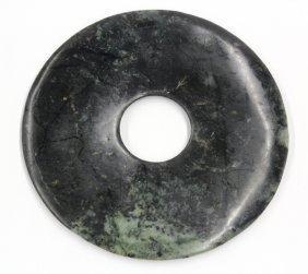 Chinese Green Jade Bi Disk