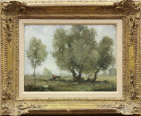 Painting, Lewis Cohen, French Country Scene