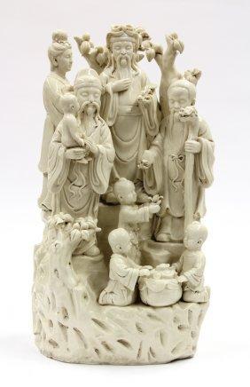 Chinese Dehua Porcelain Figural Group, Three Star
