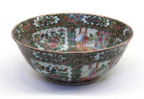 Chinese Rose Medallion Export Punch Bowl, 19th C