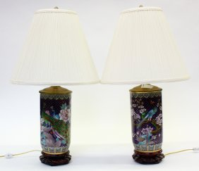 Chinese Cloisonne Enameled Lamps