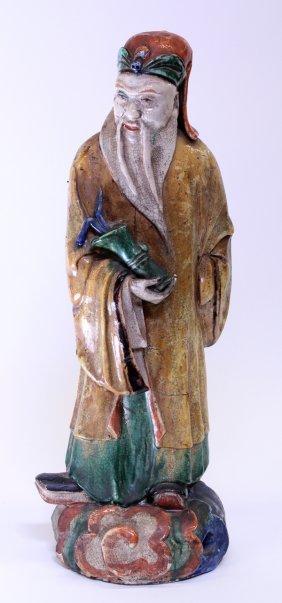 Chinese Large Ceramic Figure, Zhang Guo Lao