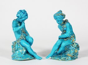 Pair Of Sevres Style Porcelain Turquoise Glazed Figures