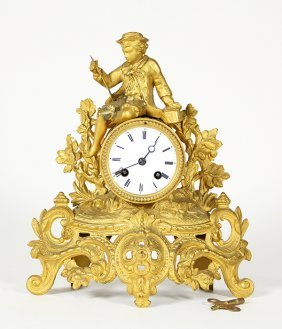 French Louis Xv Style Gilt Mantle Clock