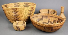 (lot Of 5) Native American California Basketry Group