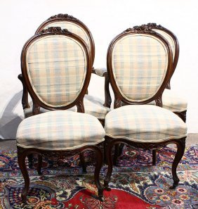 (lot Of 4) Three Louis Xv Style Side Chairs