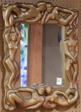 Mid Century Modern Gilt Plaster Mirror