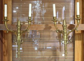 Pair Of Empire Style Ormolu Sconces