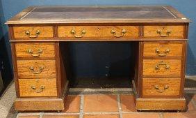 Edwardian Burl Mahogany Kneehole Desk