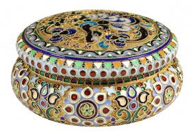 Russian .875 Silver-gilt Plique-a-jour Box
