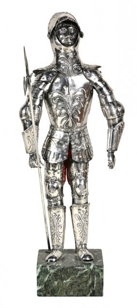 Continental Silver Statue Of A Medieval Knight