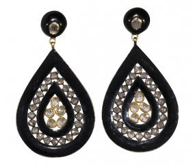 Pair Of Diamond, Enamel Sterling Silver And 14k Yellow