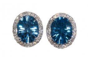 Pair Of Blue Topaz, Diamond And 14k White Gold Earrings