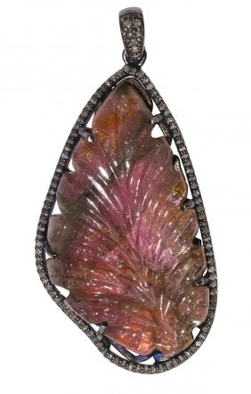 Carved Tourmaline, Diamond And Sterling Silver Pendant
