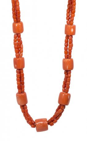 Coral Bead And Silver Necklace