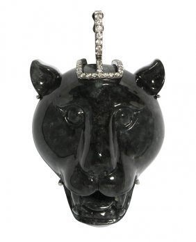 Carved Gray Jadeite, Diamond And 18k White Gold Panther