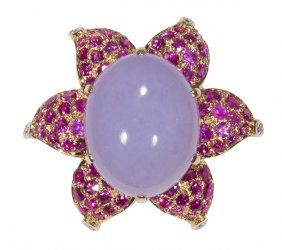 Lavender Jadeite, Pink Sapphire, Diamond And 18k Yellow