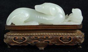 Chinese White Jade Dogs