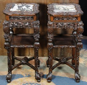 Two Chinese Stands With Marble Tops