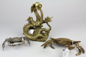 Two Bronze/copper Crabs , One Dragon