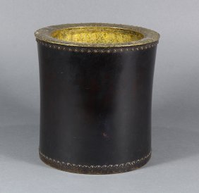 Chinese Wood Brush Pot With Copper Lining