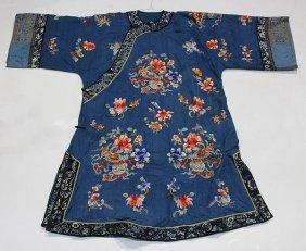 Chinese Woman's Blue Damask Robe